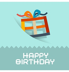 Happy birthday retro blue card template vector