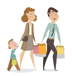 Happy family with shopping bags cartoon characters vector