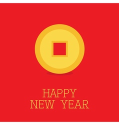Happy new year symbol feng shui chinese coin with vector