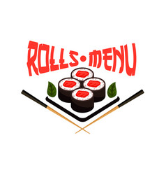 Japanese restaurant menu sushi icon vector