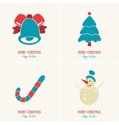 Merry Christmas card decoration Happy New Year vector image