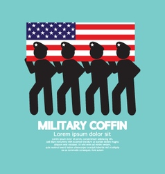 Military coffin funeral parade vector