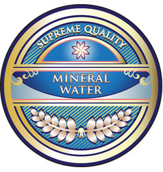 Mineral water gold label vector