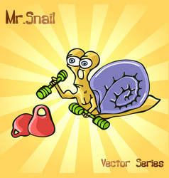 Mr snail with sports vector