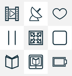 Music outline icons set collection of satellite vector