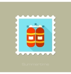 Oxygen tank flat stamp with long shadow vector