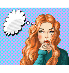 pop art of thinking woman vector image