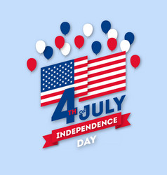 Postcard paper art day on july 4 vector