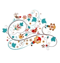 Russian ornament flowers and birds vector