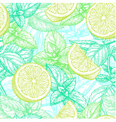 seamless pattern with lime and mint vector image vector image