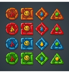 Set of colored stone buttons for a computer game vector