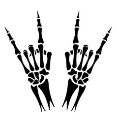 skeleton hands heavy metal sign vector image vector image