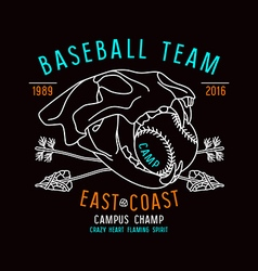 Skull animal baseball team emblem vector