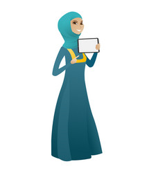 Smiling business woman holding tablet computer vector
