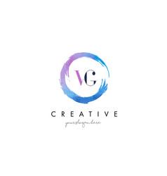 vg letter logo circular purple splash brush vector image