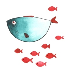Watercolor funny fishes vector