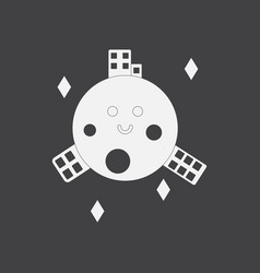 White icon on black background planet and vector
