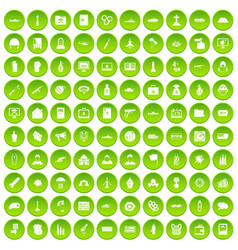 100 vogue icons set green circle vector