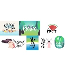 Lettering on beach picnic vacation and summer vector