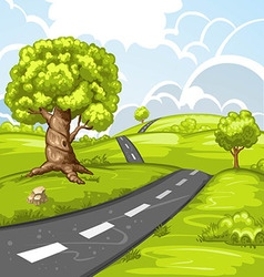 Spring landscape with trees and road vector image