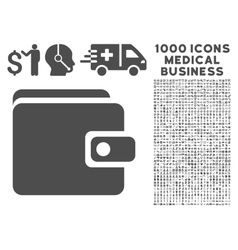 Wallet icon with 1000 medical business symbols vector
