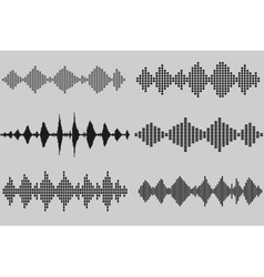 Set of sound and audio music waves vector