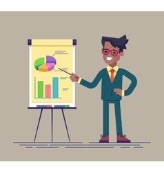 Black businessman standing near flip chart vector image