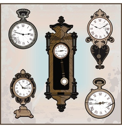 collection of retro clocks vector image