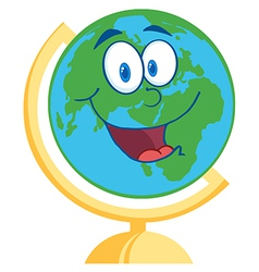 Desk globe cartoon mascot character vector