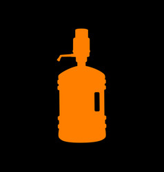 plastic bottle silhouette with water and siphon vector image
