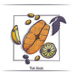 Steak fish with lemon and olives vector