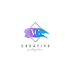 Vg artistic watercolor letter brush logo vector