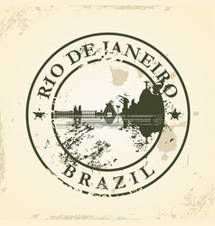 grunge rubber stamp with rio de janeiro brazil vector image