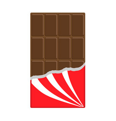 Chocolate bar icon opened red wrapping paper vector
