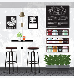 Coffee amp cafe interiors vector