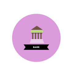 Stylish icon in color circle building bank vector
