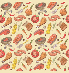 barbecue and grill hand drawn seamless background vector image