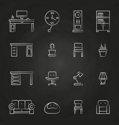 Work room furniture icons on chalkboard vector