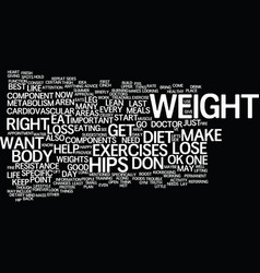 Lose weight on hips text background word cloud vector