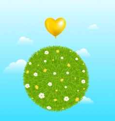 Grass ball with yellow balloon vector