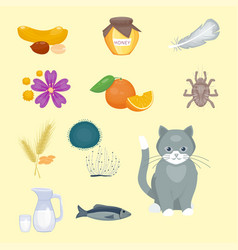 Allergy symbols disease healthcare food viruses vector