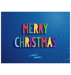 Merry christmas candy lettering on blue background vector