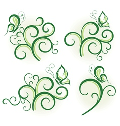 Floral design elements with butterfly vector image