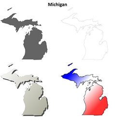 Michigan outline map set vector