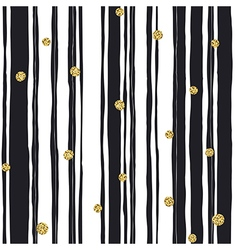 Black stripes seamless pattern and golden dots vector