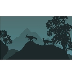 Silhouette of parasaurolophus in hills vector