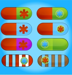 Medic colored pills sign set isolated vector
