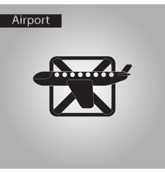 Black and white style icon airplanes flight banned vector