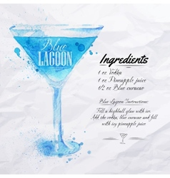 Blue lagoon cocktails watercolor vector
