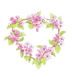Bright floral heart vector